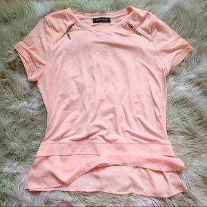 IVANKA TRUMP peach layered silky top